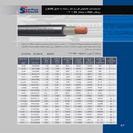 کابلهای قدرت تک رشته با عایق XLPE و روکش PVC سیمکات