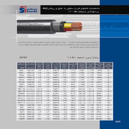 کابلهای قدرت سکتور با عایق و روکش PVC زره فولادی سیمکات